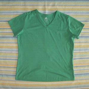 Adidas Green vneck athletic top large